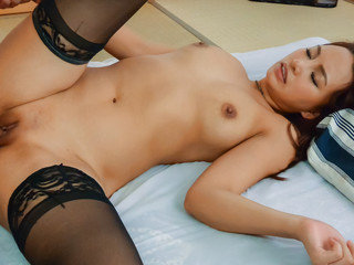 Ray, lingerie model, wants cock in both her holes